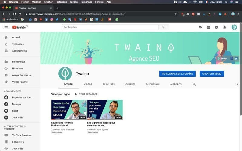 Chainte Youtube Twaino