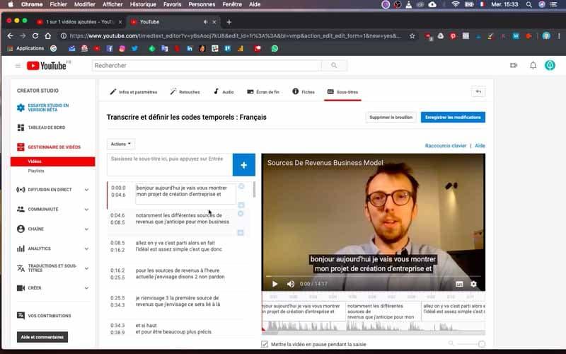 Editer et corriger transcription Youtube