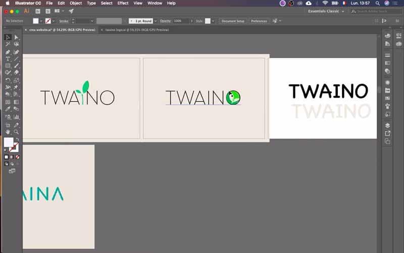 Mes ebauches de logos Twaino