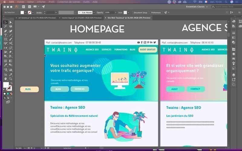 Maquette site Web Twaino