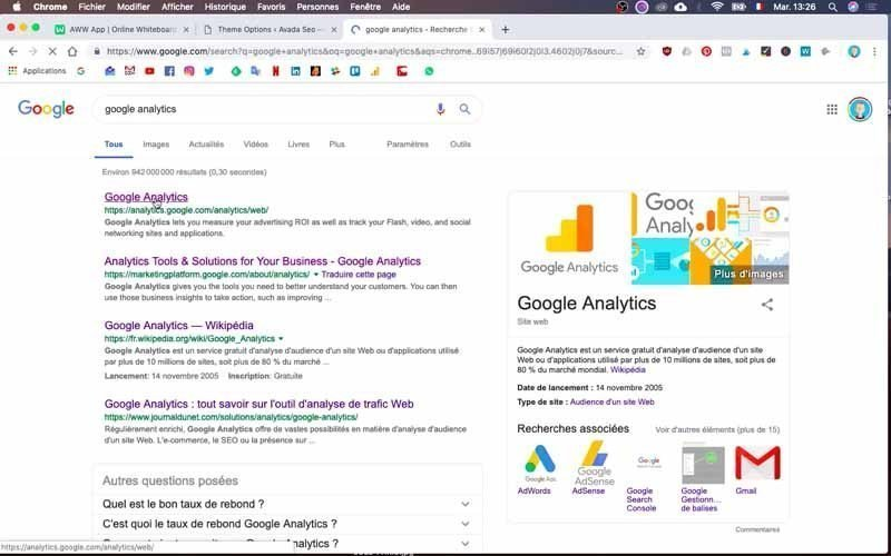 Aller sur Google Analytics