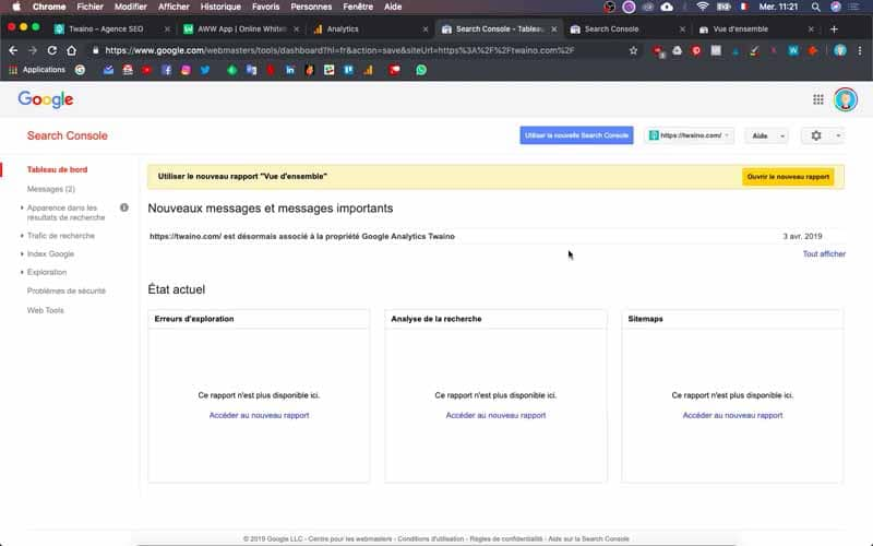 Verifier les informations sur google search console