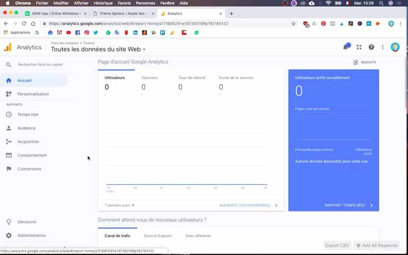 Vous pouvez acceder aux informations Google Analytics