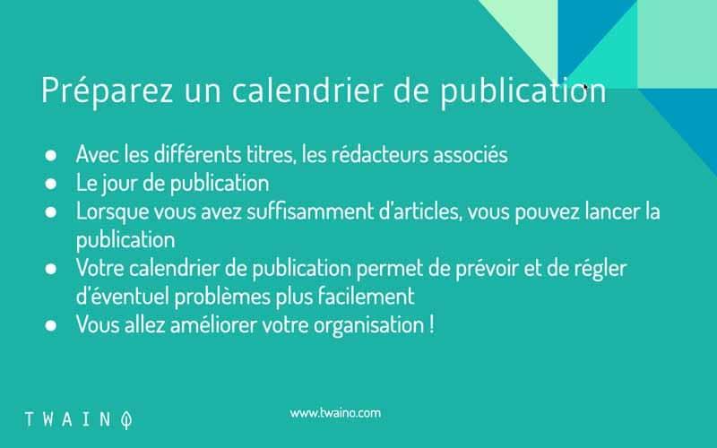 Préparer un calendrier de publication