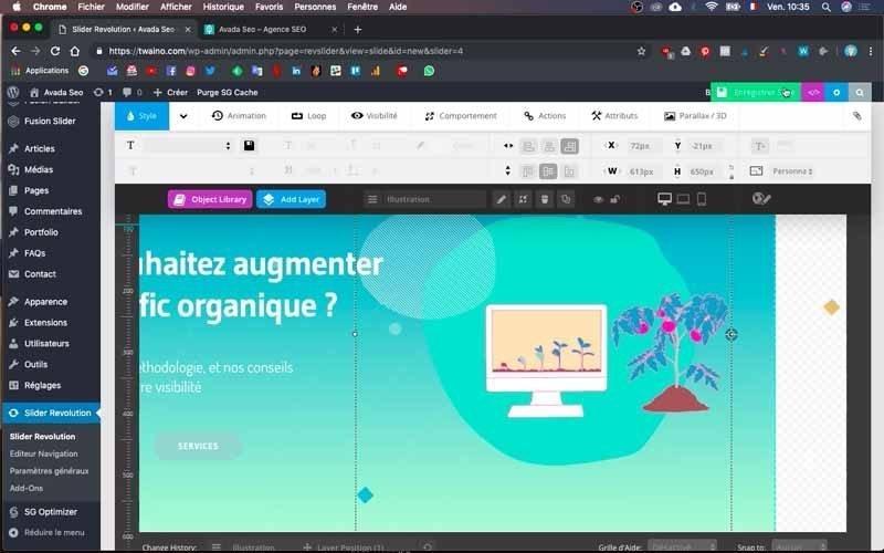 Modifier le positionnement image ordinateur