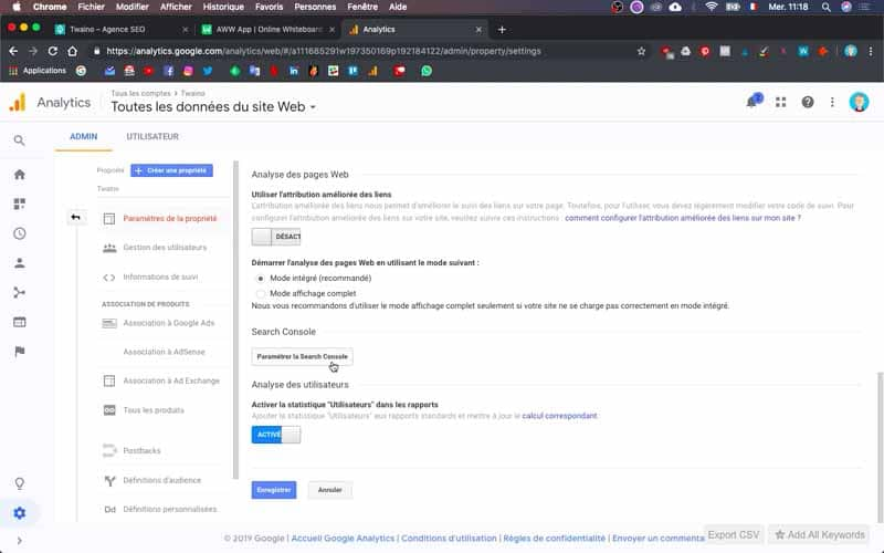 Parametrer la search console