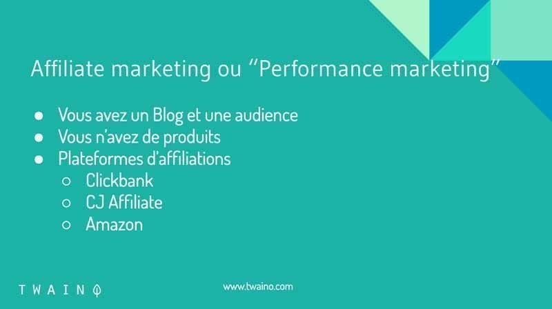 Affiliate marketing ou performance marketing