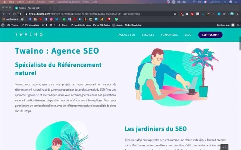 Site Web Twaino Version ordinateur