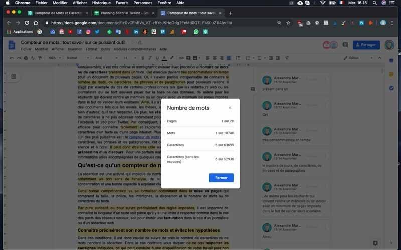 Google doc nombre de mots