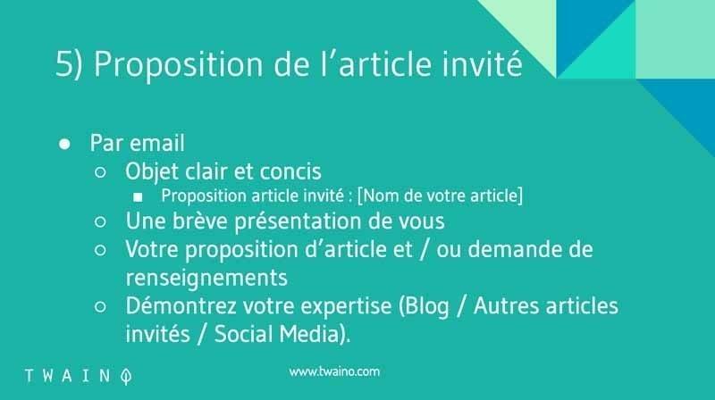Proposition article invite