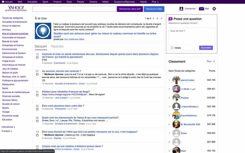 20 Chercher des sujets dans Yahoo answer