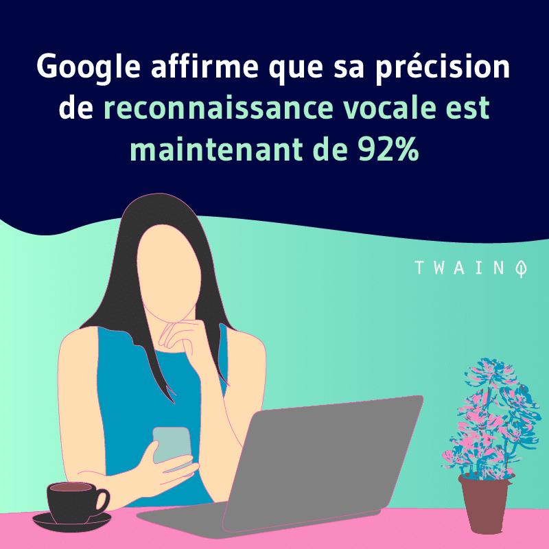 Google affirme que sa precision de reconnaissance vocale est de 92