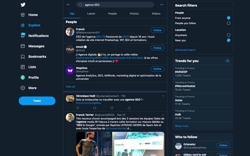 Chercher des influenceurs sur twitter