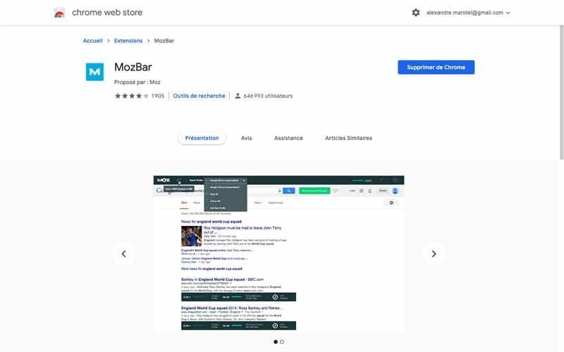 Extension Chrome de MOZ