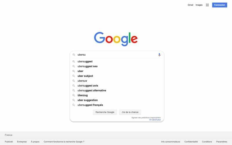 Suggestion Google pour Ubersuggest