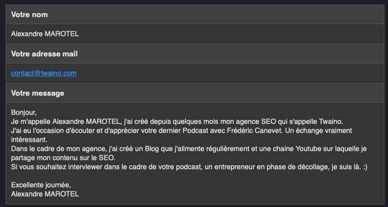 Contact pour un podcast