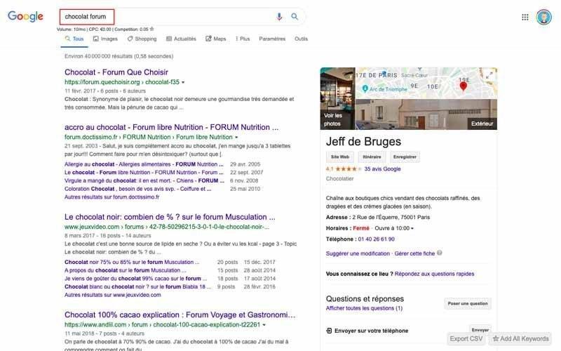 Entrer Forum chocolat dans Google