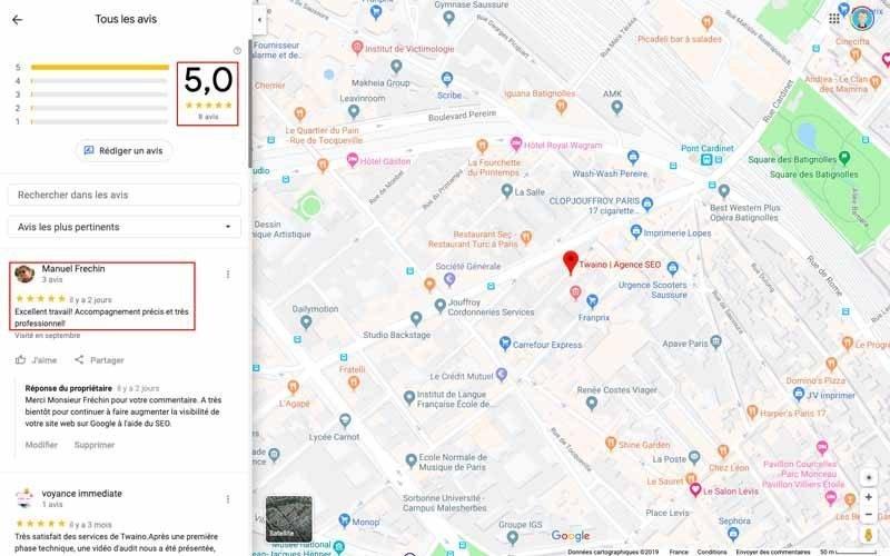 Avis commentaires google maps twaino