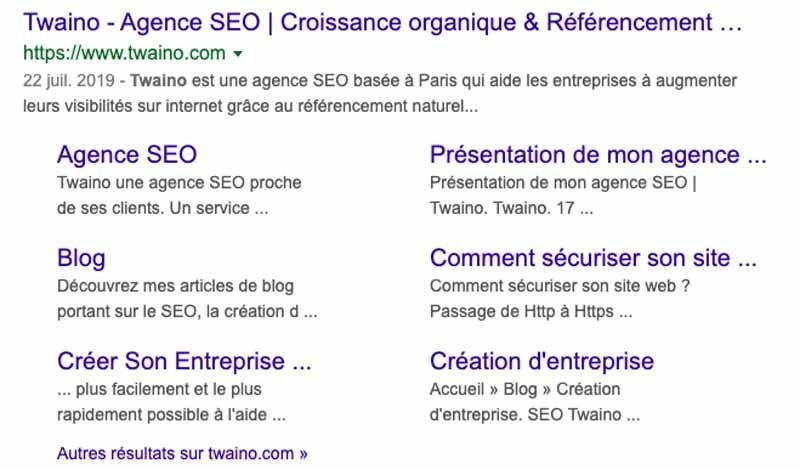 Resultat Twaino Agence SEO dans Google