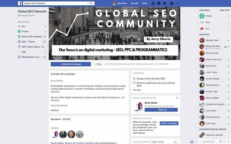 Page Facebook Global SEO network