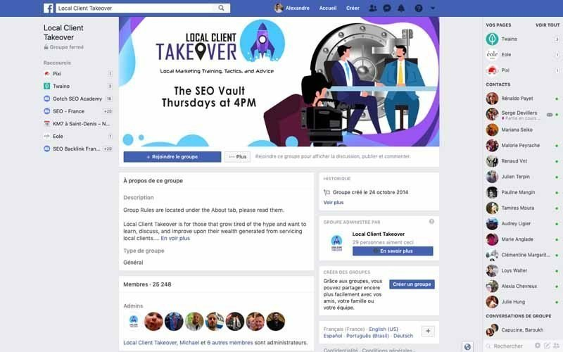 Page Facebook local client takeover