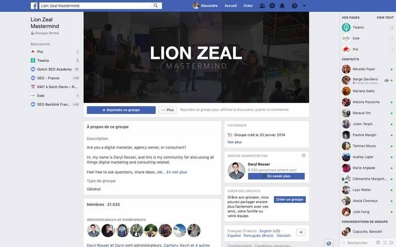 Page Facebook Lion Zeal