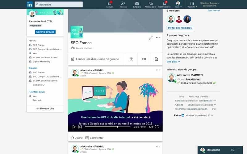 Page Linkedin SEO France