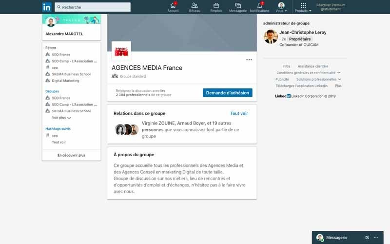 Page Linkedin Agence media france
