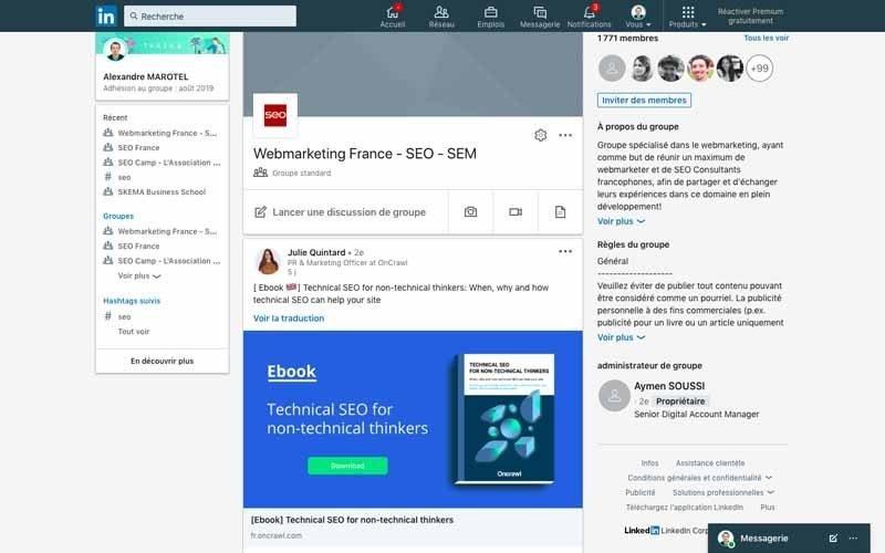 Page LinkedinWebmarketing France