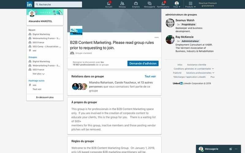Page Linkedin B2B content marketing