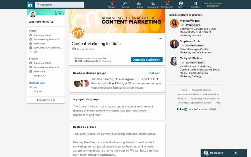 Page Linkedin Content marketing institut