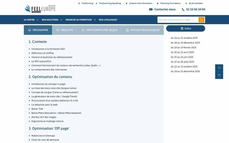 Feeleurope programme referencement de site web