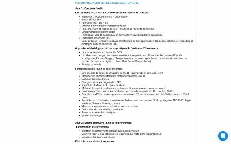 Ziggourat Programme de ormation audit