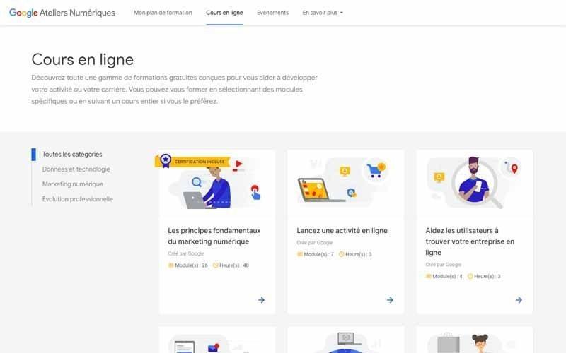 Atelier numeriques Cours en ligne Google