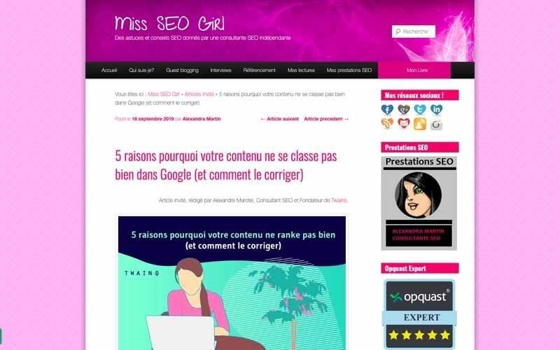 Blog Miss SEO girl