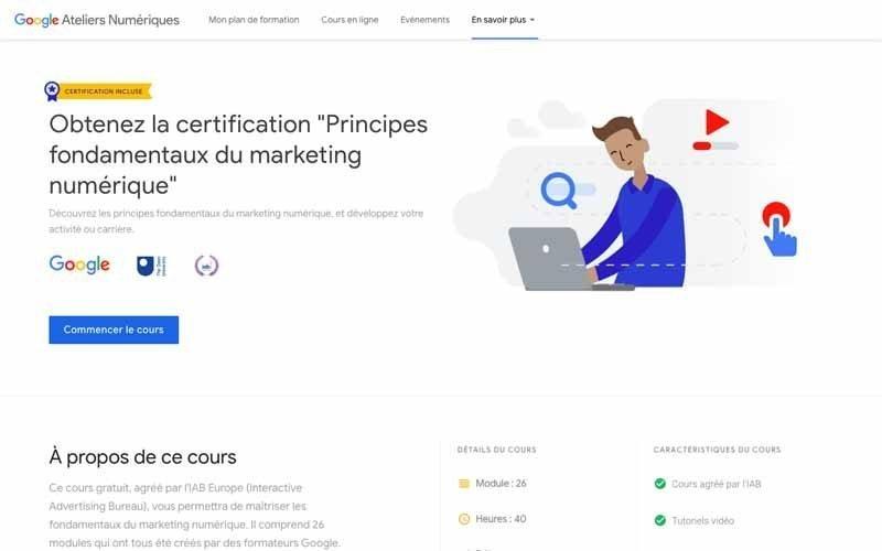 Obtenir certification en ligne Google