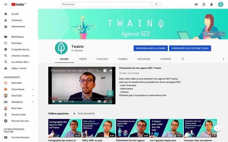 Chaine Youtube Twaino