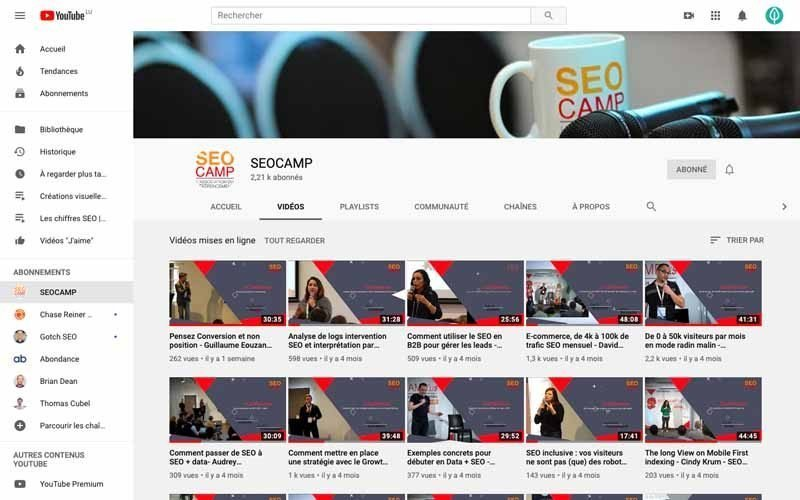 Chaine Youtube SEO Camp