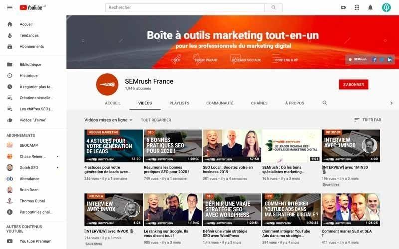 Chaine Youtube SemRush