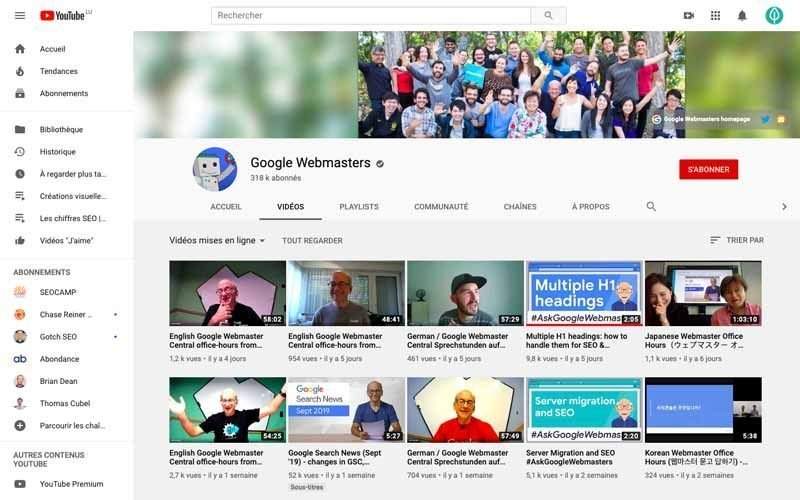 Chaine Youtube Google Webmaster