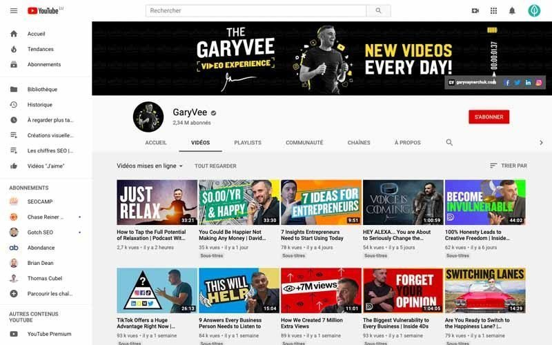 Chaine Youtube Gary Vee