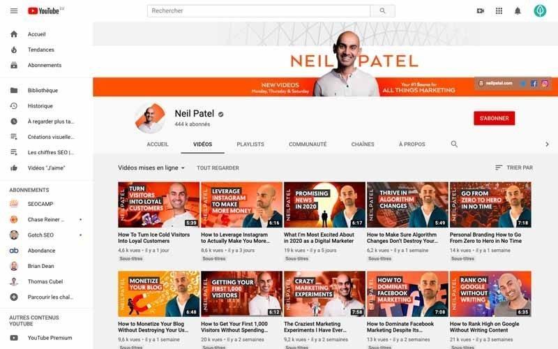 Chaine Youtube Neil Patel