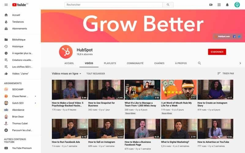 Chaine Youtube Hubspot