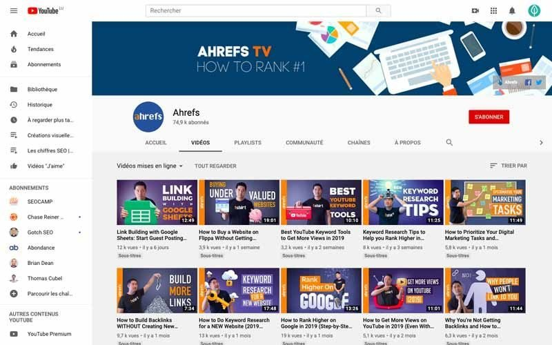 Chaine Youtube Ahrefs TV