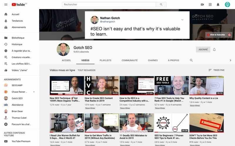 Chaine Youtube Gotch