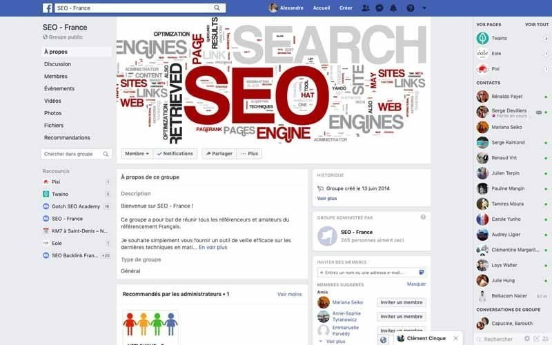 Page Facebook SEO France