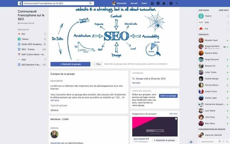 Page Facebook Communaute francaise sur le SEO