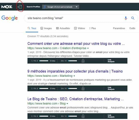 Moz toolbar Exporter les metriques pour les sites