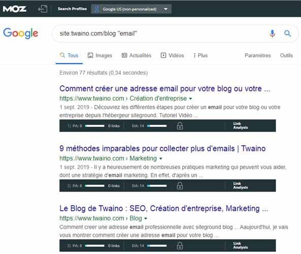 Moz toolbar inserer un mot de recherche avec un site