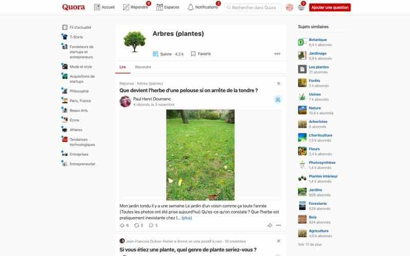 Découvrir des thematiques avec Quora